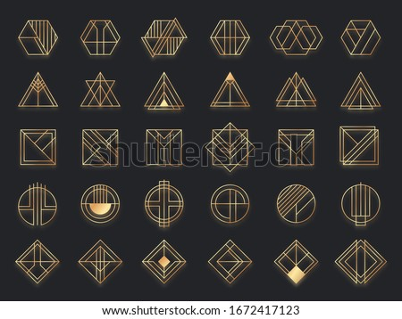 Art deco geometric shapes. Golden geometrical art shape, gold circle symbol and abstract triangle. Creative lines square and elegant geometrics rhombus vector. Geometric decoration frame illustration