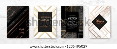 Art Deco Gold, black, white marble template, artistic covers design, colorful texture, realistic cube, backgrounds. Trendy pattern, graphic poster, geometric brochure, cards. Vector illustration.