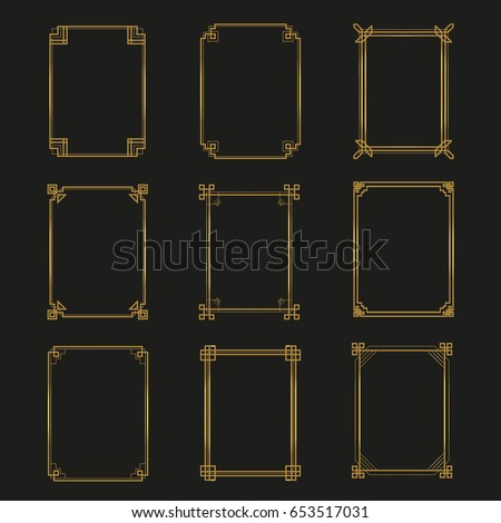 Art Deco gold frames and borders collection. Trendy gatsby design elements. Retro art deco style. Isolated. Vector.