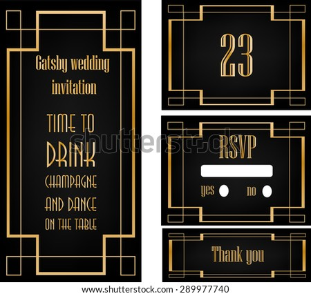 great gatsby art deco wedding invitation design template includ