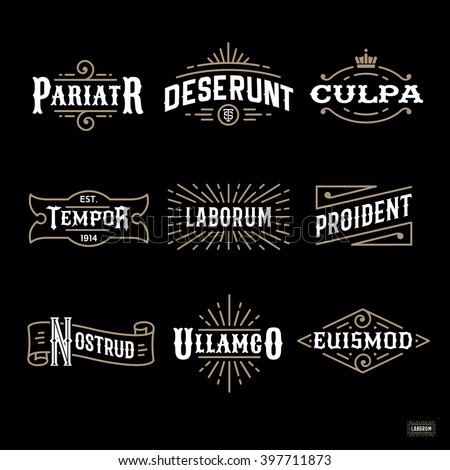 art deco luxury monochrome antique gold hipster vintage linear vector frame , border , label  for your logo, badge or crest for club, bar, cafe, restaurant, hotel, boutique