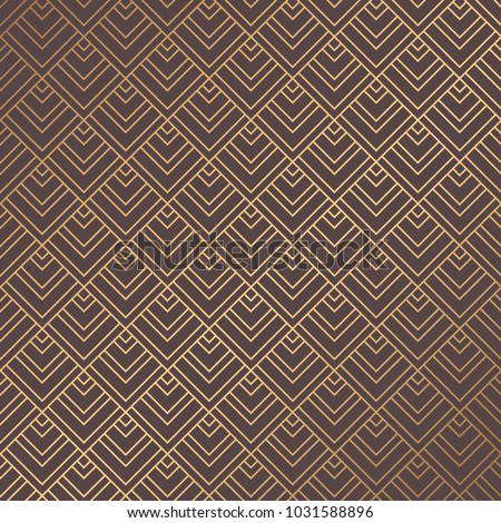 Art Deco Pattern. Golden background. Minimalistic geometric design. Vector line design. 1920-30s motifs. Luxury vintage illustration
