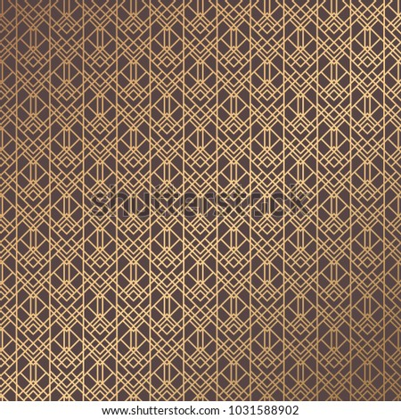 Art Deco Pattern. Golden background. Minimalistic geometric design. Vector line design. 1920-30s motifs. Luxury vintage illustration