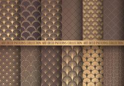Art Deco Patterns Set. Golden backgrounds. Fan scales ornaments. Geometric decorative digital papers. Vector line design. 1920-30s motifs. Luxury vintage illustration