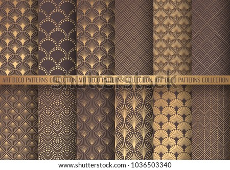 art deco patterns set golden