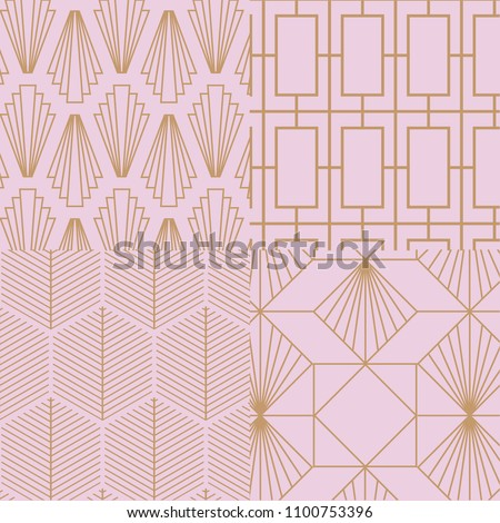 Art deco, retro, vintage pattern collection. Vector art.