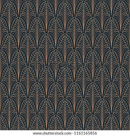 Art Deco seamless pattern. Stylized Palm leaf ornament on black background. Golden geometric tile elements. Vector vintage Atr Nouveau design for fabric, wallpaper, wrapping