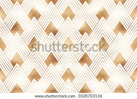 Art deco seamless pattern with gold geometric shapes and golden glitter texture on white background.