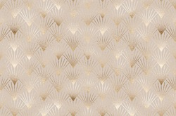 Art deco seamless pattern with gold striped fan tiles.