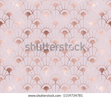 Art deco seamless pattern with rose gold decorative flowers shapes.