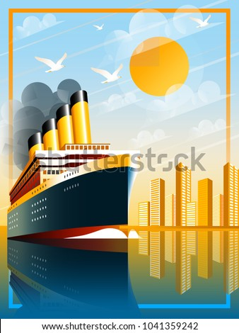 Art Deco ship vector illustration. Passenger liner in ocean. Illustration of vacation and cruise. Handmade drawing vector illustration.