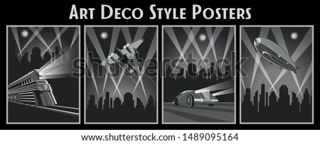 Art Deco Style Poster Set, Locomotive, Aircraft, Car, Zeppelin, Citiscape Background, Rays of LIght, Vintage Design Foto stock ©