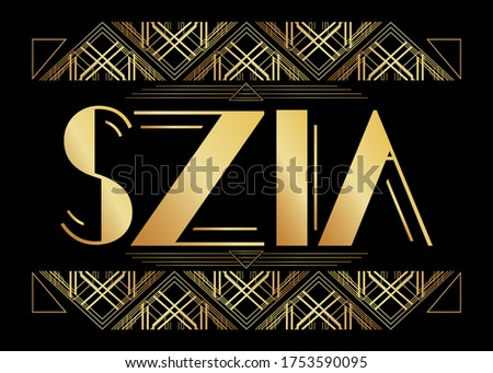 Art Deco Szia (Hungarian, Hello in Hungary) text. Decorative greeting card, sign with vintage letters. Stock fotó ©