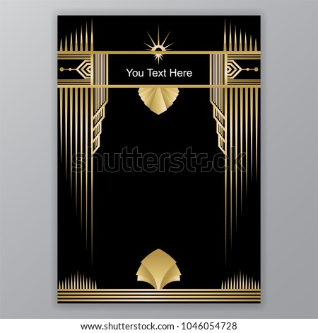 Art Deco template golden-black, A4 page, menu, card, invitation, Sun and leaf in a ArtDeco/Art Nuvo style, beautiful bakcground .