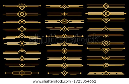 Art deco vector elements dividers or headers. Decorative line borders or frames in geometric victorian style, elegant vintage design, antique bordering symbols isolated on black background, icons set