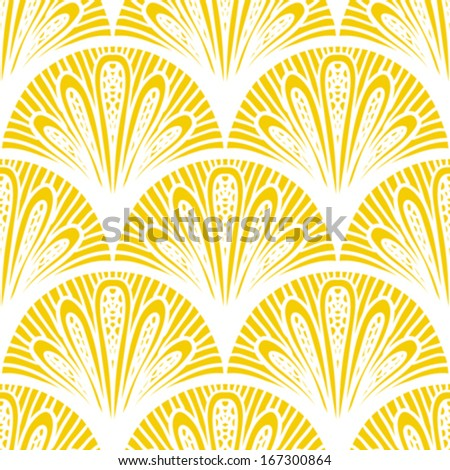 Art deco vector geometric pattern in bright yellow Seamless texture for web print wallpaper Christmas gift wrapping home decor winter fashion wedding invitation background textile design