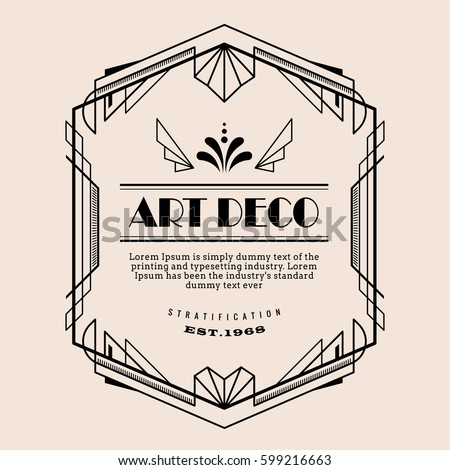 art deco vintage border vector design template illustration