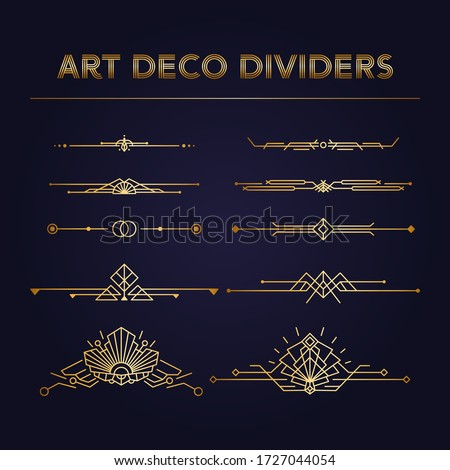 Art Deco vintage dividers and borders Vector Kit. Set of retro linear elements for Save the Date cards. Perfect decorations for Roaring 20s Design templates