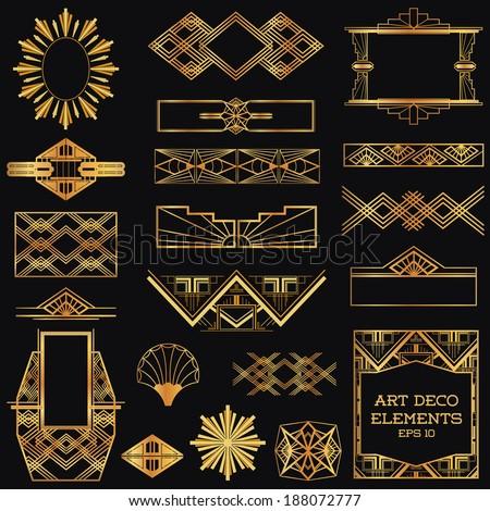 art deco vintage frames and design elements in vector 188072777 shutterstock. Black Bedroom Furniture Sets. Home Design Ideas