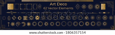 Art Deco Vintage Frames, Borders. Circles and Design Elements in gold