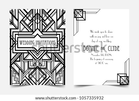 Art Deco Vintage Invitation Template Design Patterns And Frames Retro Party Geometric Background Set