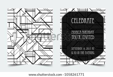 Black Gold Art Deco Wedding Invitation Template Vector - Download ...