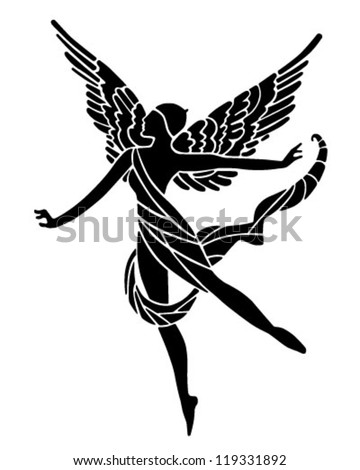 Art Deco Winged Goddess - Retro Clipart Illustration