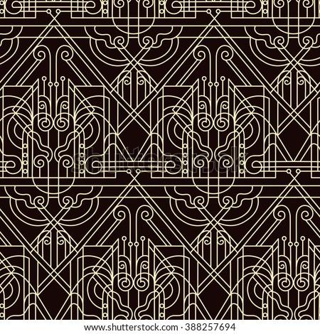 Art deko - seamless pattern in vintage style of the twenties beginning of the twentieth century Stok fotoğraf ©