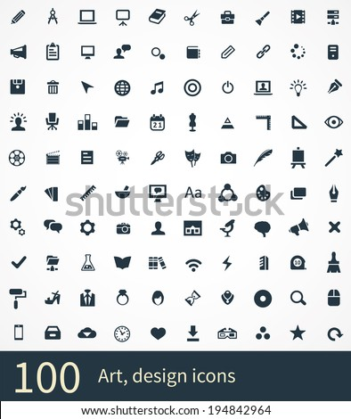 art, design Icons Vector set stock photo