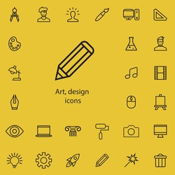 art, design outline, thin, flat, digital icon set for web and mobile