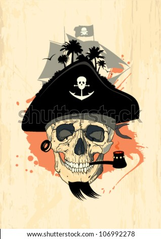 Art design template with pirate skull