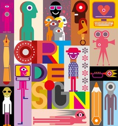 Art Design - vector illustration. Composition of various images with text