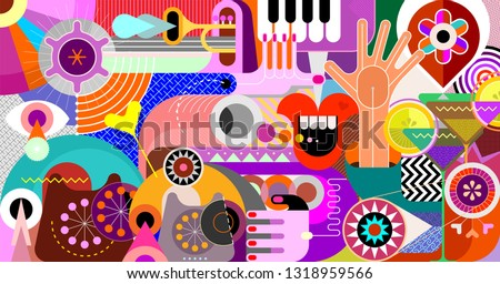 Art design with trumpet, piano keyboard, cocktails and obsolete phones vector illustration. Abstract musical background.