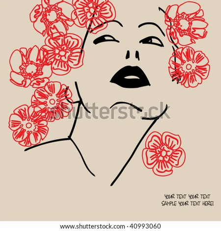 Art Girl Drawing Art Drawing Girl Stock Vector