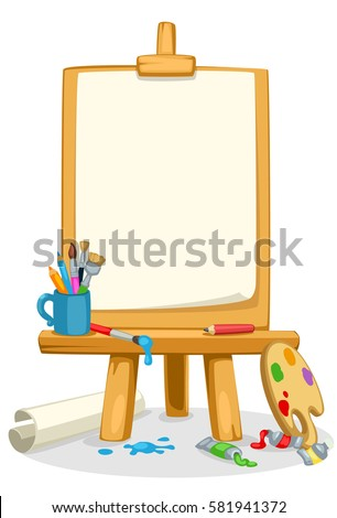 art easel with colors  brushes