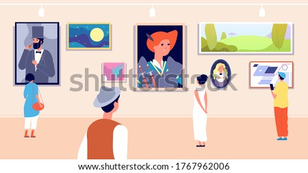 Art gallery. Artistic museum painting exhibition tour. Artist paintings, canvas image and visitors. Woman and exposition vector illustration