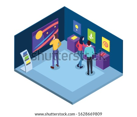 Art gallery isometric vector illustration. Museum interior with masterpieces, wall abstract pictures, contemporary exhibits. Visitors at artistic exhibition flat characters. Art 3d exposition