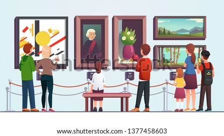 Art gallery visitors people man, woman, kid, couple and family looking at painting artwork pieces while sitting, walking, and standing at museum artwork. Flat vector character illustration