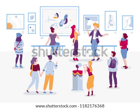 Art gallery with visitors looking at paintings vector flat illustration. People at the exhibition cartoon characters in modern art style. Men and women tourists and guide at the museum of arts.