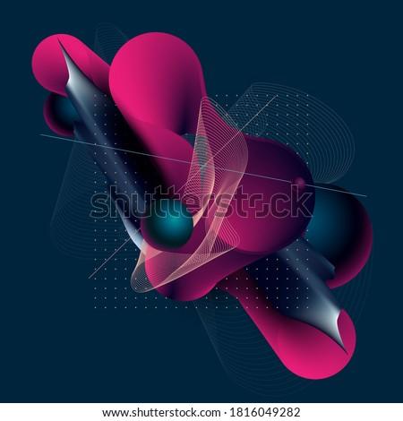 Art  geometric poster with liquid elements. Vector illustration.