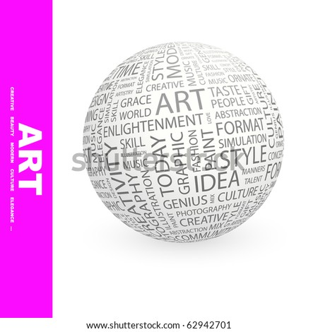 ART. Globe with different association terms.