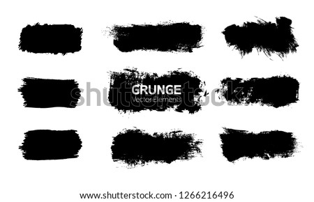 Art graphics shapes elements. Abstract black paint ink brush stroke for your design use. Modern banners template set. Grunge vector illustration background. Dirty stains frame with copy space. #1266216496