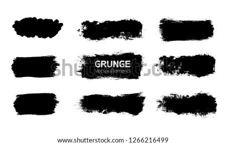 Art graphics shapes elements. Abstract black paint ink brush stroke for your design use. Modern banners template set. Grunge vector illustration background. Dirty stains frame with copy space. #1266216499
