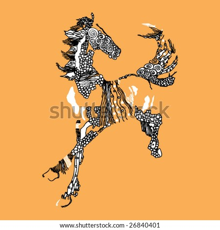 art handmade drawing of a horse, vector - stock vector