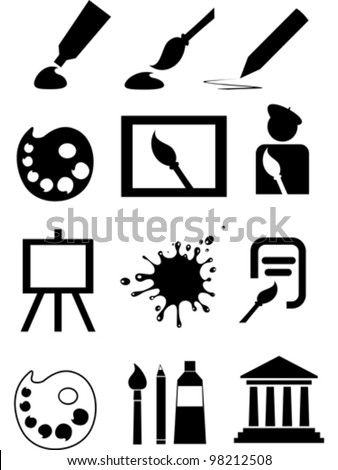 Art icons. Collection of design elements isolated on White background. Vector illustration