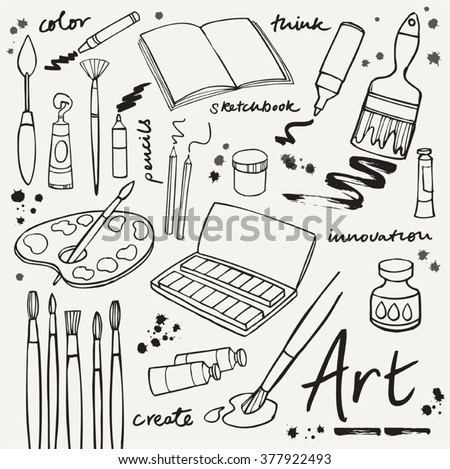 Art icons doodle vector