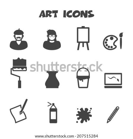 art icons, mono vector symbols