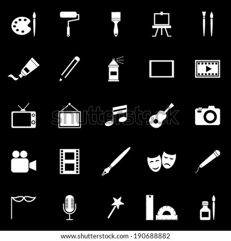 Art icons on black background, stock vector