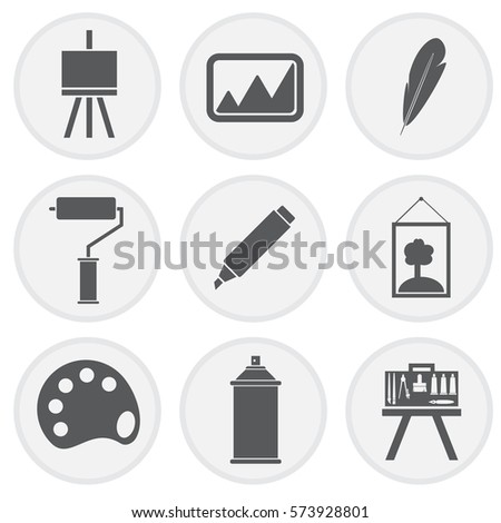 Art icons set concept design