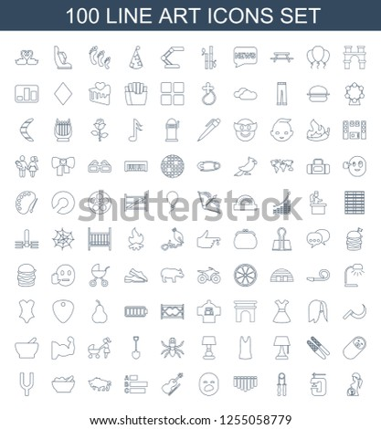 art icons. Trendy 100 art icons. Contain icons such as pregnant woman, vice clamp, sport expander, harmonica, yawn emot, violin, statistic, buffalo. art icon for web and mobile.
